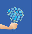 blue tender forget-me-not flowers in retro style vector image