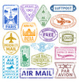 different countries air plane post stamp delivery vector image