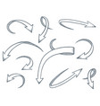 arrows set drawing style vector image