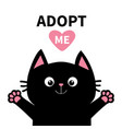 adopt me dont buy pink heart black cat face head vector image vector image