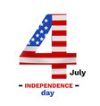 american flag print as number four shaped vector image