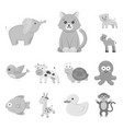 an unrealistic monochrome animal icons in set vector image