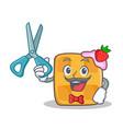 barber waffle character cartoon design vector image vector image