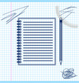 blank notebook and pencil with eraser line sketch vector image vector image