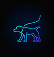 blue dog on a leash icon vector image