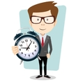 Businessman holding a clock vector image vector image