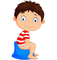 cartoon boy sitting on the potty vector image vector image