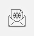 christmas envelope line icon xmas postcard vector image