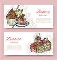 coffee shop or bakery house visit cards set vector image