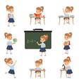 cute schoolgirl student in uniform in various vector image vector image
