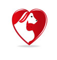 dog and cat silhouettes inside a heart logo vector image
