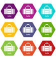 duffel icons set 9 vector image vector image