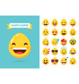 easter emoticons egg emoji in flat style vector image