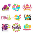 easter isolated icons painted eggs and spring vector image vector image