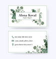 floral business card design with eucalyptus leaves vector image