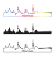 Hannover skyline linear style with rainbow vector image vector image