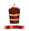 happy brithday cake chocolate cake with vector image vector image