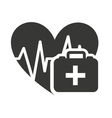 heart cardiology with medical icon vector image vector image
