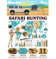 hunting infographics safari hunter and equipment vector image vector image