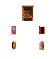 icon flat approach set of gate entrance exit and vector image
