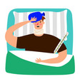 ill men in his bed vector image