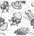 jellyfish sketch style seamless pattern vector image