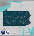 map of state pennsylvania usa vector image vector image