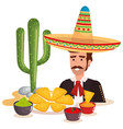 mexican mariachi with food character vector image vector image