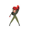 military man fighting soldier character in vector image vector image