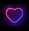 neon iridescent glowing heart banner on dark empty vector image