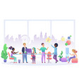 office work people interior flat vector image
