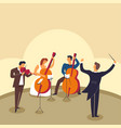 orchestra band playing instruments on stage vector image vector image