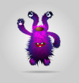 purple funny fluffy monster waving his paw vector image