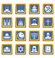 religious symbol icons set blue vector image vector image