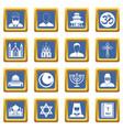 religious symbol icons set blue vector image