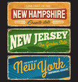 retro banners new hampshire new jersey new york vector image