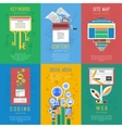 Seo flat icons composition poster vector image vector image