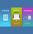set e-book digital library audiobook concepts vector image
