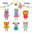 set of cute cartoon animals for happy birthday vector image vector image