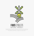 simple logo for farm on the green hills vector image vector image