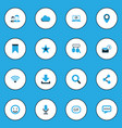 social icons colored set with video chat inbox vector image