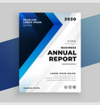 stylish blue annual report business flyer vector image vector image