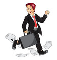 successful businessman holding briefcase and vector image