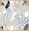 tropical greybeige navy leaves with beige vector image