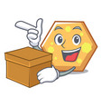 with box hexagon character cartoon style vector image vector image