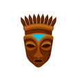 wooden african mask decorated with crown symbol vector image vector image