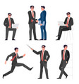 young businessman pose set vector image