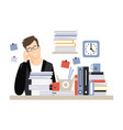young tired businessman character sitting at the vector image vector image