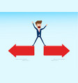 indecisive businessman chooses right direction way vector image