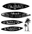 set of vintage surfing logos and t-shirts vector image